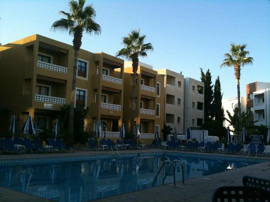 Damon Hotel Apartments: Swimming pool at sunset