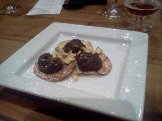 The Inn at Cooperstown: apple truffle dessert at Ommegang