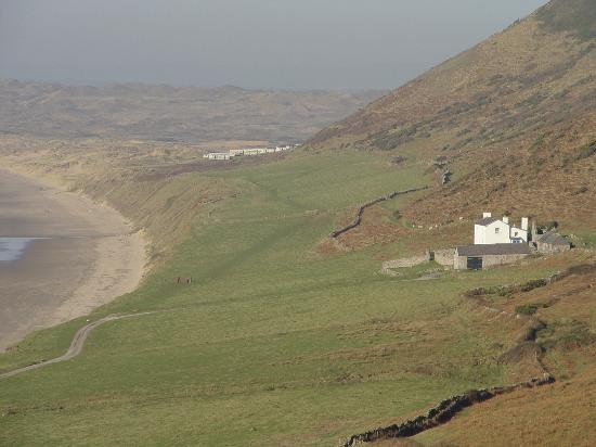 Rhossili Bay and the Cottage which private and now under the care of the National Trust.