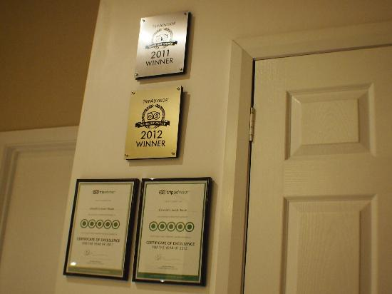 Llewellin's Guest House: Trip Advisor awards, well deserved