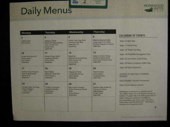 Homewood Suites Santa Fe: Monthly Dinner Menu
