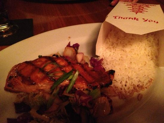 Ken & Sue's: Clever presentation of Basmati Rice alongside Peanut-Lime Glazed Salmon