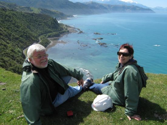 Glenstrae Farm 4 Wheel Adventures : Stopping for a breather to take in the view of the Kaikoura coast bellow.