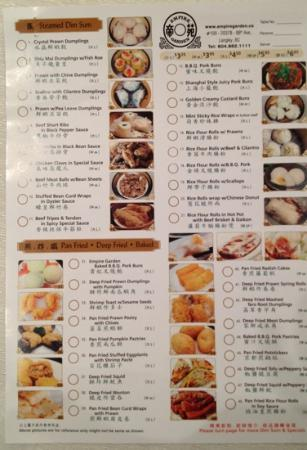 Dim sum menu picture of empire garden langley city for 101 taiwanese cuisine menu