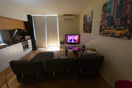About Melbourne Apartments: living room + TV