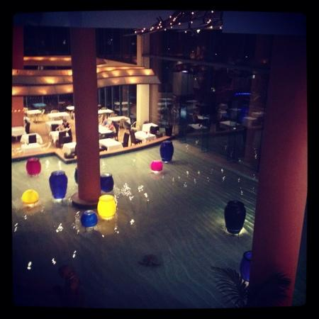 Mantra Crown Towers: the downstairs foyer at night