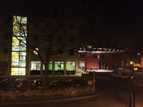 Youth Hostel Luxembourg City: The Hostel at night from the path from Clausen