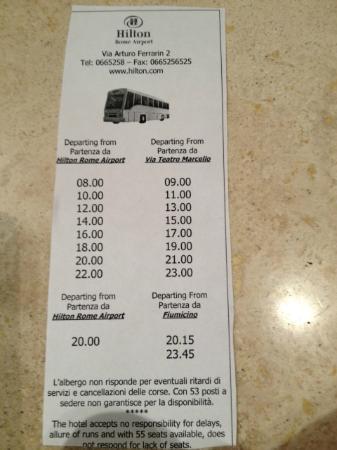 Hilton Rome Airport Hotel: downtown Rome shuttle schedule