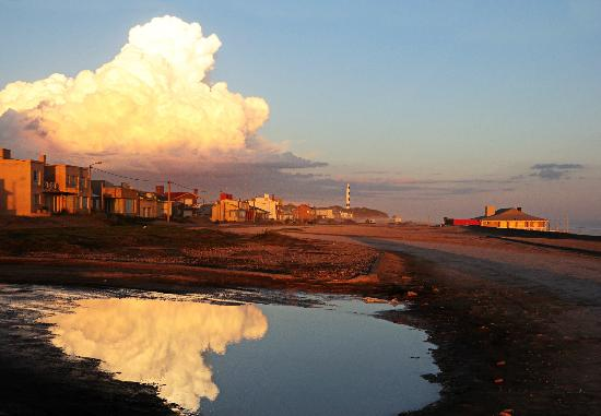 Claromeco, Argentina: View of the village, ocean front. And the light house.