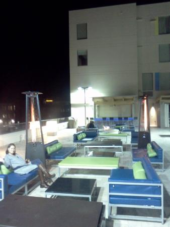 Aloft Asheville Downtown: Patio Heaters & Fire Pit Around Pool Area