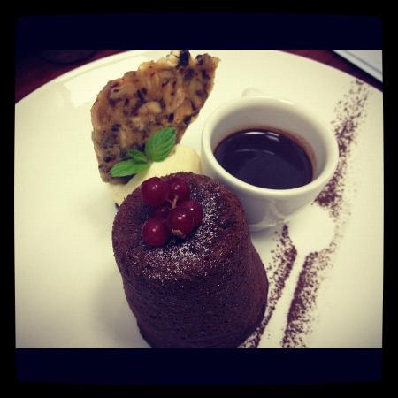 Elea Estate Restaurant: Venezuela chocolate fondant   Frangelico ice cream, chocolate soup, hazelnut brittle