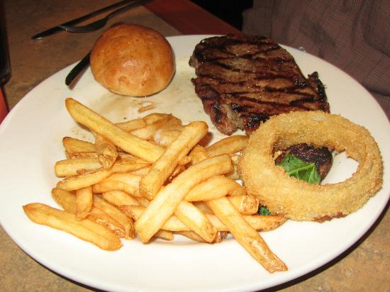 Lewis & Clark's: Steak, Fries, Onion ring