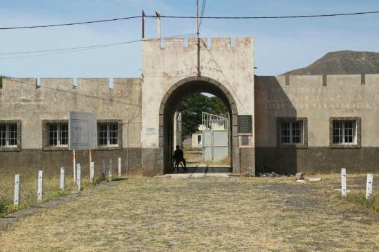 Entrance to notorious Portuguese concentration camp of Chao Bom, near Tarrafal, Santiago, Cape V