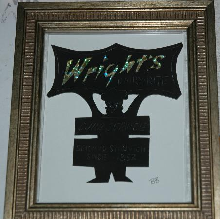 Wright's Dairy Rite: papercutting of sign