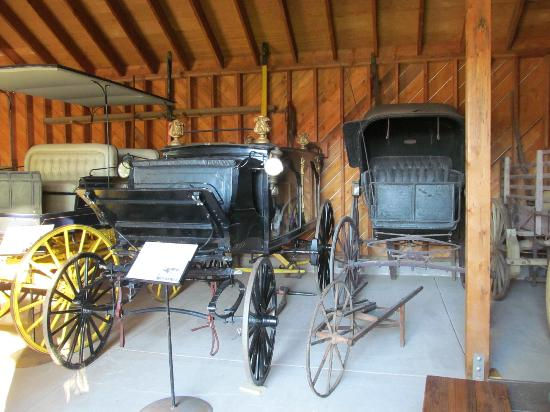 Bernhard Museum Complex: Still functioning horse drawn hearse. Next to it is a doctor's carriage.