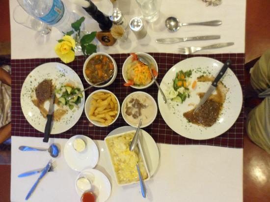 Ilboru Safari Lodge: The Game Dishes/Gazelle, buffalo steak and warthog in gravy