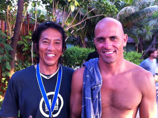 Fiji's Beach Cocomo Surf Camp: YOUR HOST ISAO WITH CHAMPION KELLY SLATER