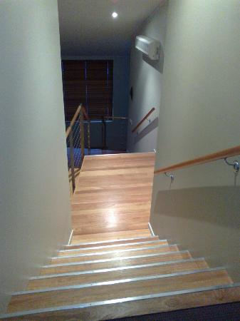 Tathra Beach House: Stairs to bedrooms upstairs