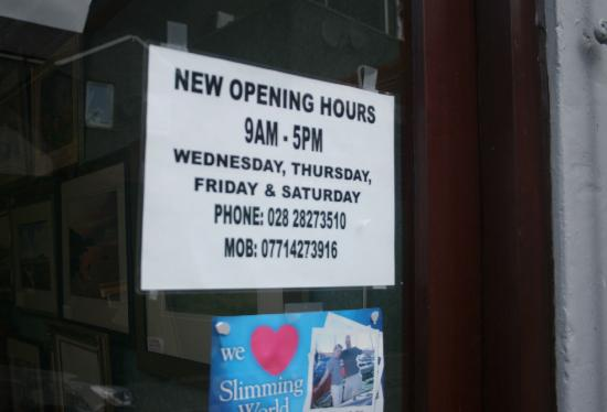 Larne, UK: Please note: new opening hours