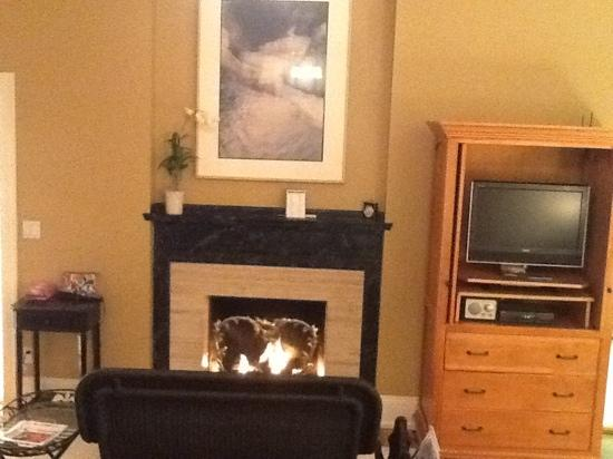 our fireplace at Harbor House Inn
