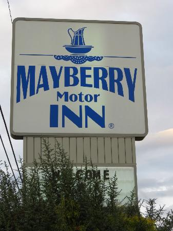 Mayberry Motor Inn: The sign as seen from the highway.