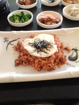 Myung GA: BBQ pork with kim chee fried rice with egg over easy sprinkled with nori