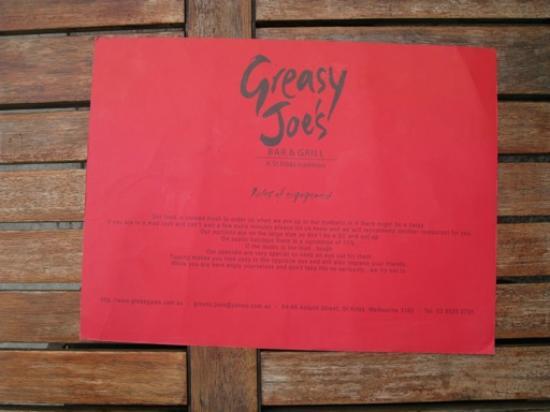 Greasy Joe's: Card