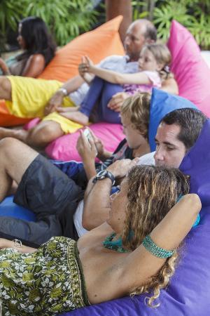 The Yogarden : relaxing in the beanbags