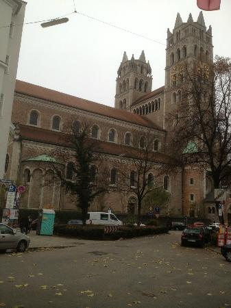 GHOTEL living Muenchen-Zentrum: St Maximilian Church viewed from hotel entrance