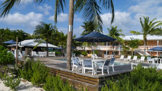 Little Cayman Beach Resort: From the shore, with the bar on the left