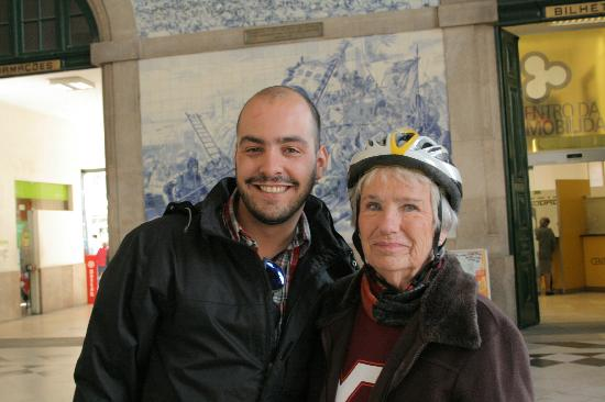 Porto, Portugal: Tour guide Bruno with Betty, 80 years old, in the most beautiful train station in Portugal.