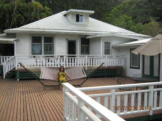Waipio Wayside B&B: A new bride enjoying the deck.