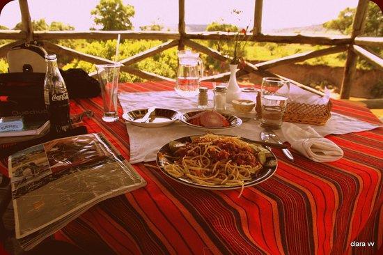 Cheetah Tented Camp: comida en la terraza de la tienda 