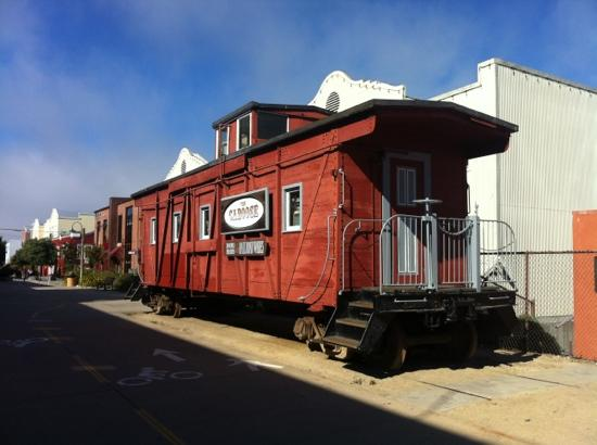 Blazing Saddles Bike Rentals & Tours: former railroad truck...now a restaurant on the cycle trail