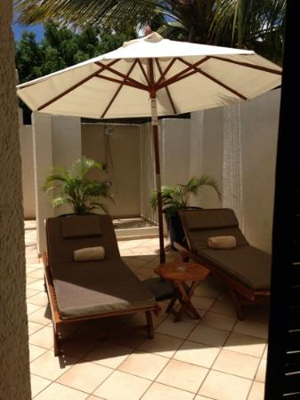 ‪‪Maritim Resort & Spa Mauritius‬: Our private sun terrace and outside shower!!