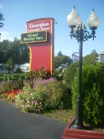 The Georgian Lakeside Resort: The sign just outside the resort