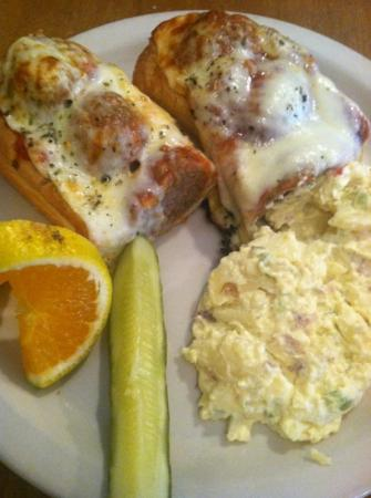 Blue Mountain Pizza: meatball sub with side of red potato skin potato salad