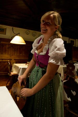 Hotel Gasthof Post: Miriam, our waitress, looking beautiful in a Dirndl..........and she smiled like this all the ti