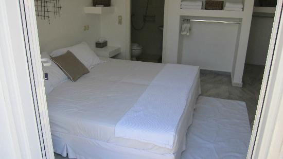Geranium Residence: very good bed, open closet, somewhat limited storage (typical to greece) 