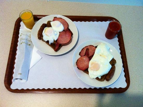 Wintersun Gardens Motel: Huge breakfast at the unbeatable price of $6 each!