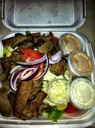 Mythos Greek Taverna: Gyro Salad with more than plenty of meat!