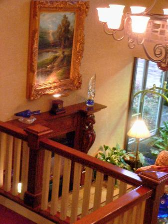 Hotel Bellwether: overlooking the massively beautiful fireplace and surrounding artwork