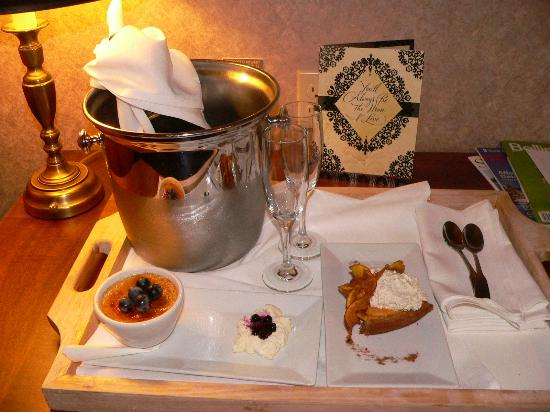 Hotel Bellwether: A special champagne and dessert tray