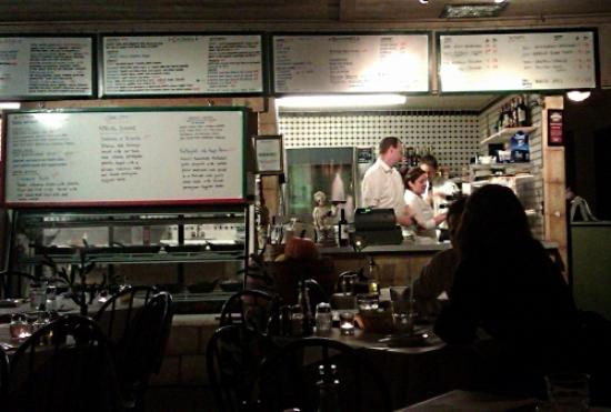 Inside Cafe Citti looking to the kitchen counter and ordering point.