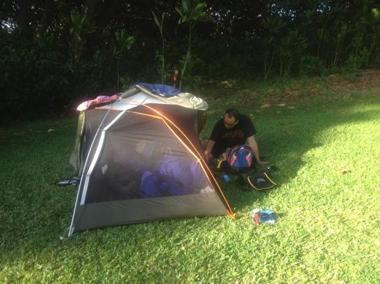 Waianapanapa State Park Cabins: our 4 pound tent