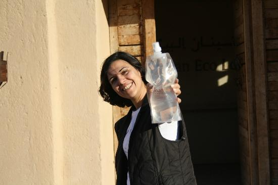 Reusable water bottle for hikers at Feynan Ecolodge