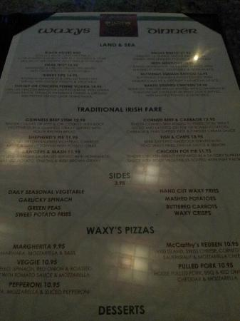BEST WESTERN PLUS Keene Hotel: Menu Irish Pub