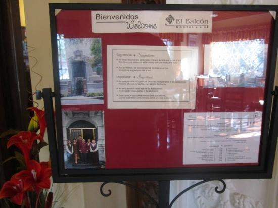 El Balcon Hostal Turistico: Info panel