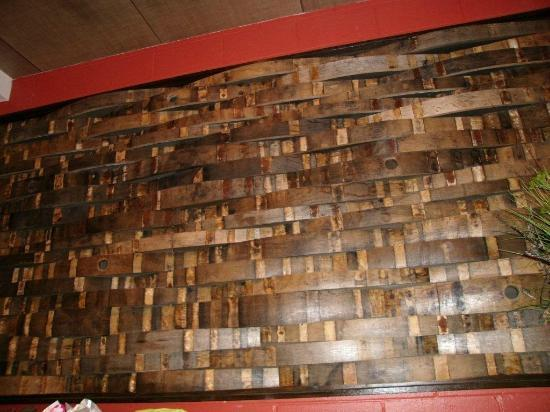 Quantum Leap Winery: behind the counter wine barrel staves