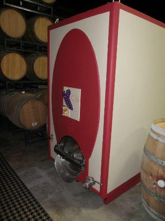 Quantum Leap Winery: large old ceramic wine cooler